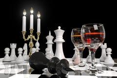 Xadrez e velas ilustração stock