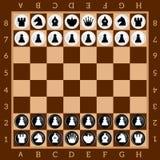 Xadrez Jogo de tabela Grupo de figuras preto e branco Placa quadriculado de Brown ilustração royalty free