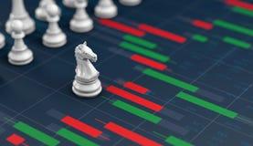 Xadrez no gráfico da vara da vela, planear compra-venda no mercado de valores de ação ilustração royalty free