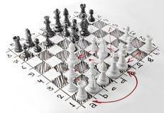 Xadrez Placa branca com figuras da xadrez nela Fotografia de Stock