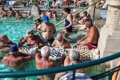 Xadrez plaing dos povos em termas de Szechenyi (banho, Therms) Fotos de Stock Royalty Free