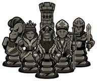 Xadrez Team Black ilustração stock