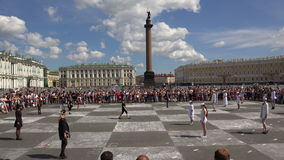 Xadrez viva O quadrado do palácio St Petersburg 4K video estoque