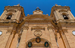 Xaghra Church Low Angle. Low angle view of the Xaghra parish church in Gozo, Malta Royalty Free Stock Image