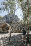 Xaibe pyramid in Coba, Mexico stock photo