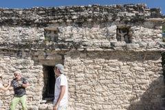 Xaibe pyramid in Coba, Mexico royalty free stock photos