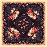 Xaile popular com pavão, as flores do jardim e o paisley feericamente no fundo escuro no estilo do russo ilustração royalty free