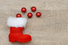 Xams boots and xmas baubles Stock Images