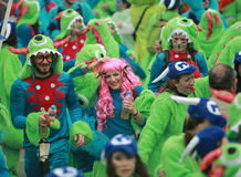 Xanthi Carnival Parade. XANTHI, GREECE - marth 2, 2014: Unidentified friends dressed in colorful costumes during the annual Carnival Parade in Xanthi, Greece stock images