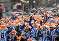 Xanthi Carnival Parade. XANTHI, GREECE - marth 2, 2014: Unidentified friends dressed in colorful costumes during the annual Carnival Parade in Xanthi, Greece royalty free stock photos