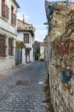XANTHI GRECJA, WRZESIEŃ, - 23, 2017: Typowa ulica i stary dom w starym miasteczku Xanthi, Wschodni Macedonia i Thrace, Zdjęcia Royalty Free