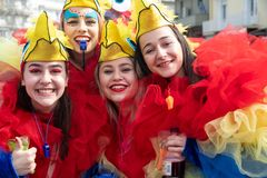 Carnival parade in Xanthi, Greece. Xanthi, Greece - February 18 ,2018: People dressed in colorful costumes during the annual carnival parade in Xanthi, Greece stock photo