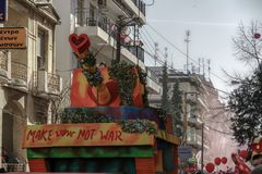 Xanthi, Greece Carnival parade floats. Decorated Greek Carnival platforms towed by a vehicle for the parade on the streets of Xanthi town stock photo