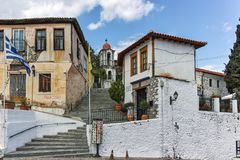 XANTHI, GREECE - SEPTEMBER 23, 2017: Stone orthodox church town of Xanthi, East Macedonia and Thrace, Greece Royalty Free Stock Image
