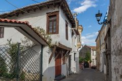 Street and old houses in old town of Xanthi, East Macedonia and Thrace, Greece. XANTHI, GREECE - SEPTEMBER 23, 2017: Street and old houses in old town of Xanthi Stock Images