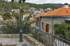 XANTHI, GREECE - SEPTEMBER 23, 2017: Typical street and old house in old town of Xanthi, East Macedonia and Thrace Royalty Free Stock Photo