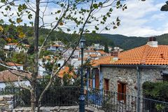 XANTHI, GREECE - SEPTEMBER 23, 2017: Typical street and old house in old town of Xanthi, East Macedonia and Thrace Stock Photo