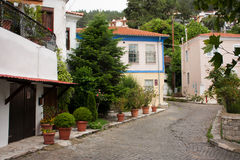 Xanthi old town. Street home Royalty Free Stock Image