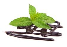 Xarope de chocolate com hortelã fresca Fotografia de Stock