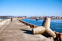 Xaver storm tetrapod at Darlowko port entrance Stock Image