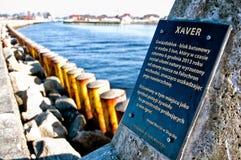 Xaver strom tetrapod bij Darlowko-haveningang Stock Afbeelding
