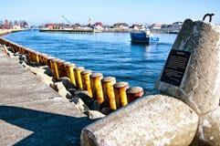 Xaver storm tetrapod at Darlowko port entrance Stock Photo