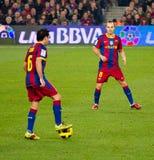 Xavi e Iniesta (FC Barcelona) Imagen de archivo