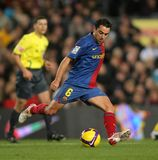 Xavi Hernandez FC Barcelona player. BARCELONA, SPAIN : Spanish player Xavi Hernandez of Barcelona in action during the match between FC Barcelona and Getafe in Royalty Free Stock Photography