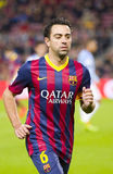 Xavi Hernandez. Of FCB in action at Spanish league match between FC Barcelona and Malaga CF, final score 3-0, on January 26, 2014, in Barcelona, Spain Royalty Free Stock Photos