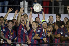 Xavi Hernandez lifts the UEFA Champions League Trophy. Barcelona players pictured during the award ceremony held after the 2015 UEFA Champions League Final Stock Images