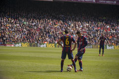 Xavi and Messi before a free kick Stock Images