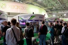 Xbox 360 en Kinect in Gamescom 2010 Stock Foto's