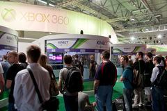 Xbox 360 and Kinect at Gamescom 2010. COLOGNE - AUGUST 21: Microsoft Showcasing Kinect for Xbox 360 at GamesCom 2010, the most important European video games Stock Photos