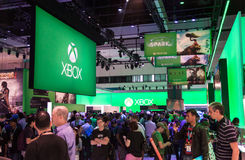 Xbox One booth at E3 2013. LOS ANGELES - JUNE 11: Microsoft showing final Xbox One and new Kinect retail design for the first time at E3 2013, the Expo for video Stock Images