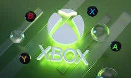 Free Xbox Series X Logo Glow Around Joystick Button On Green Background Royalty Free Stock Photos - 182098198