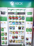 Xbox video games shalves. PLATTSBURGH, USA - JANUARY 21, 2019 : Xbox video games shelves in Walmart store full of video game download games and season passes for royalty free stock photo