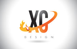 XC X C Letter Logo with Fire Flames Design and Orange Swoosh. Royalty Free Stock Photography