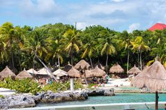 Xcaret park, Mexico. XCARET, MEXICI - NOV 7, 2016: Beautiful beach of the Xcaret,  Maya civilization archaeological site, Yucatan Peninsula, Quintana Roo, Mexico Stock Image
