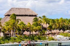 Xcaret park, Mexico. XCARET, MEXICI - NOV 7, 2016: Beautiful beach of the Xcaret,  Maya civilization archaeological site, Yucatan Peninsula, Quintana Roo, Mexico Royalty Free Stock Image