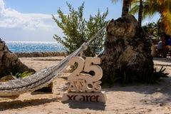 Xcaret park, Mexico. XCARET, MEXICI - NOV 7, 2016: Beautiful beach of the Xcaret,  Maya civilization archaeological site, Yucatan Peninsula, Quintana Roo, Mexico Royalty Free Stock Photography