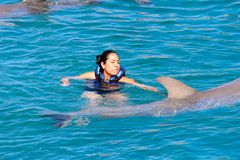 Xcaret park, Mexico. XCARET, MEXICO - NOV 7, 2016: Dolphins attraction of the Xcaret,  Maya civilization archaeological site, Yucatan Peninsula, Quintana Roo Stock Images