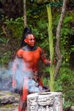 Mayan people in Mexico. XCARET, MEXICO - NOV 8, 2015: Unidentified man with a red bodypaint as a Maya indian. Maya are a group of Indigenous people of Royalty Free Stock Images