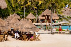 Xcaret park, Mexico. XCARET, MEXICI - NOV 7, 2016: Beautiful beach of the Xcaret,  Maya civilization archaeological site, Yucatan Peninsula, Quintana Roo, Mexico Stock Photo