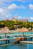 Xcaret park, Mexico. XCARET, MEXICI - NOV 7, 2016: Beautiful beach of the Xcaret,  Maya civilization archaeological site, Yucatan Peninsula, Quintana Roo, Mexico Royalty Free Stock Photo