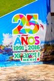 Xcaret park, Mexico. XCARET, MEXICI - NOV 7, 2016: 25 years celebration poster of the Xcaret,  Maya civilization archaeological site, Yucatan Peninsula, Quintana Stock Photo