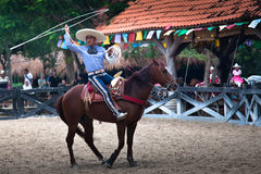 Xcaret Rodeo show performer Stock Photo