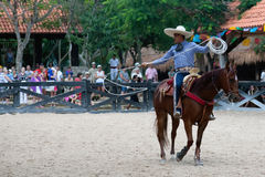 Xcaret Rodeo show performer Royalty Free Stock Image