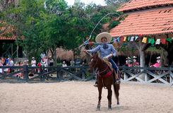 Xcaret Rodeo show performer Royalty Free Stock Photos