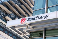 Xcel Energy Corporate Headquarters and Logo Royalty Free Stock Images