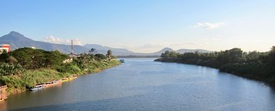Xe Don River at sunset. Laos, Pakse Royalty Free Stock Photo